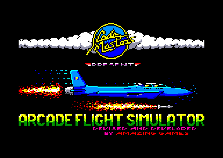 screenshot of the Amstrad CPC game Arcade flight simulator