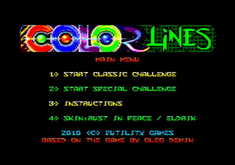menu screen of the Amstrad CPC game Color Lines