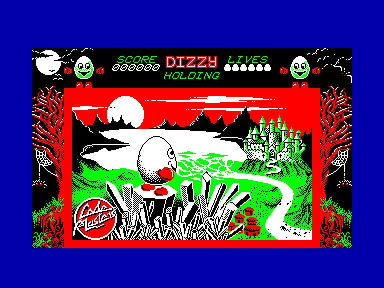 loading screen of the  Amstrad CPC game Dizzy - The Ultimate Cartoon Adventure