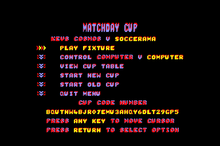 screenshot of Match Day II provided by GameBase CPC