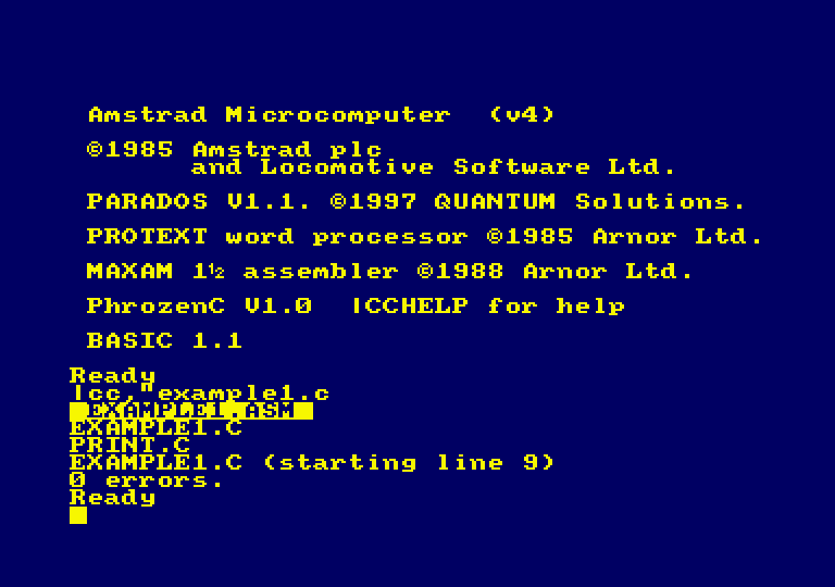 PhrozenC, C compilator for Amstrad CPC and PC screenshot