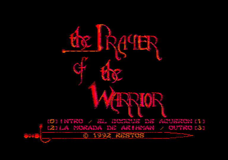 �cran de menu du jeu Amstrad CPC the prayer of the warrior