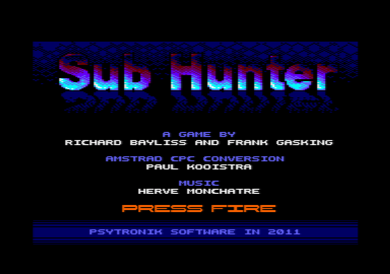 �cran de menu de Sub Hunter
