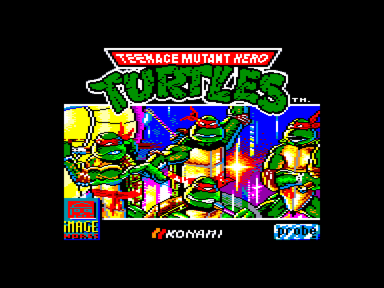 loading screen of the Amstrad CPC game Teenage mutant hero turtles 2