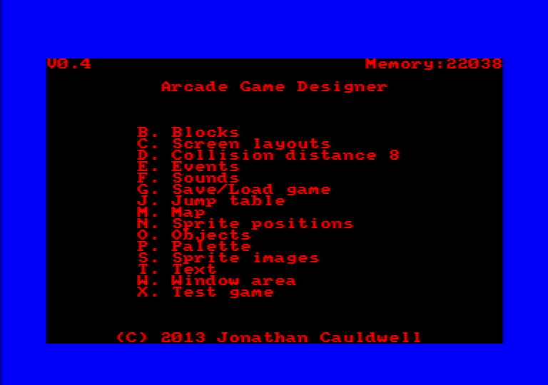 menu of Arcade Game Designer