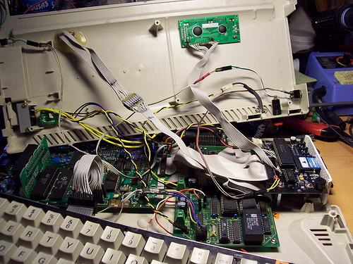 inside of a modded Amstrad CPC+ with HxC floppy emulator and Symbiface