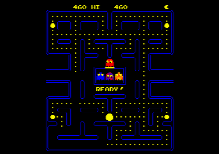 the Pac-Man arcade game running on an Amstrad CPC