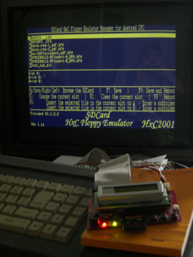 choosing a disk image directly on the Amstrad CPC with a SDCard HxC emulator